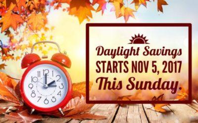 Daylight Savings Time Starts Sunday