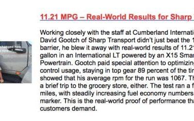 C10 RACEto10MPG featured on Cummins website