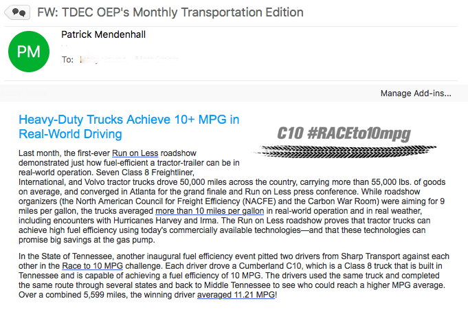 RACEto10MPG Featured in TDEC OEP's Monthly Transportation Newsletter