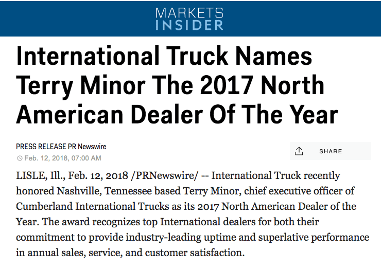 Cumberland Featured on Business Insider - Dealer of the Year