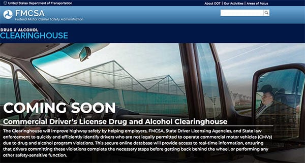 FMCSA Offers Resource for Upcoming CDL Drug and Alcohol Clearinghouse