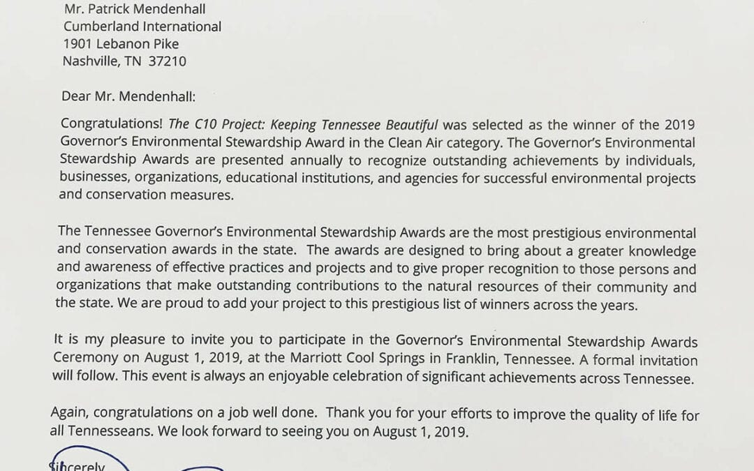 Tennessee Governor Bill Lee Congratulates the C10 on Winning the 2019 GESA Award